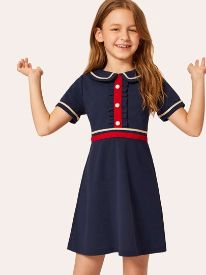 db8ec2b77248d Girls Buttoned Front Ruffle Trim Striped Tape Detail Dress