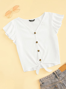 Flutter Sleeve Button Up Rib-knit Tee