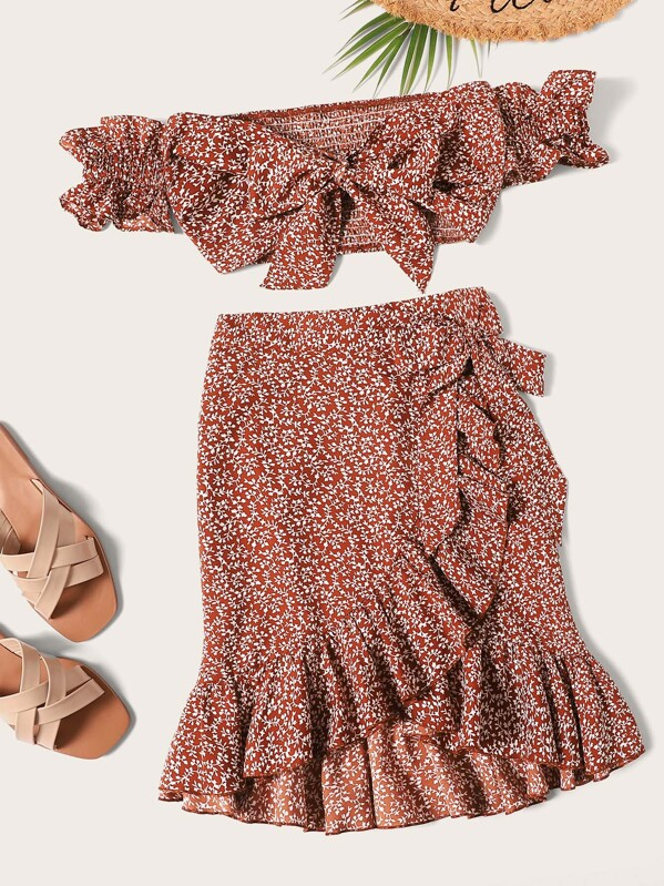455a57a54 Knotted Shirred Floral Bardot Top & Ruffle Wrap Skirt Co-ord | SHEIN UK