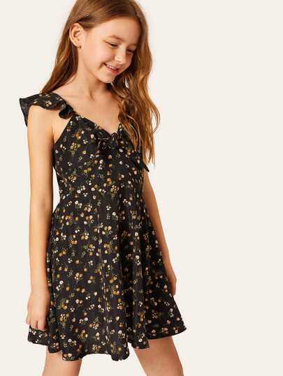 Girls Tie Neck Ditsy Floral Flare Dress