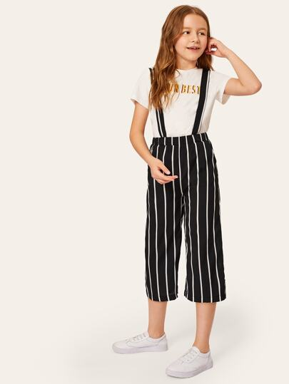 Girls Wide Leg Crop Striped Pants With Strap