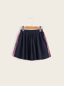 Girls Side Striped Pleated Skirt