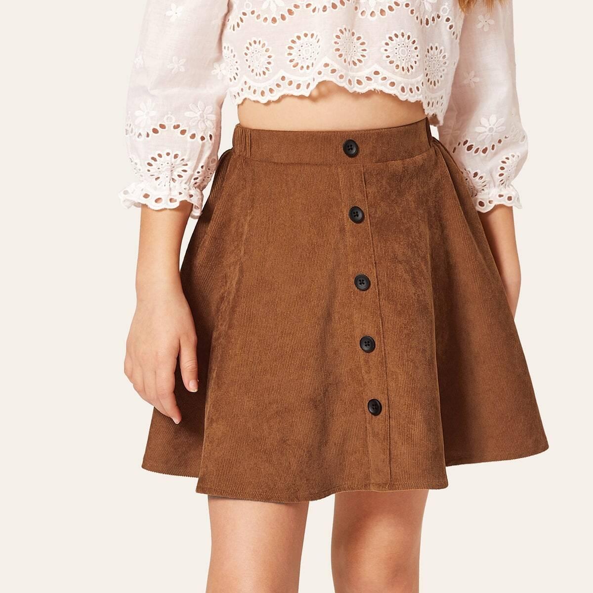 Вельветовая юбка с пуговицами для девочек