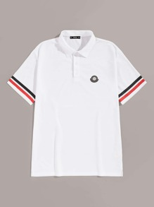 Men Striped Cuff Button Half-placket Polo Shirt