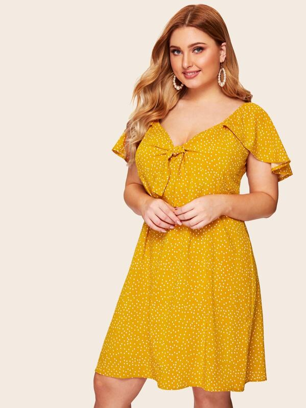 9476c3b2abc Plus Flutter Sleeve Knot Front Polka-dot Dress