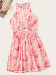 Tie Back Floral Print Cut Out Chiffon Dress