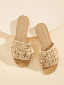 Straw Decor Open Toe Flat Slippers