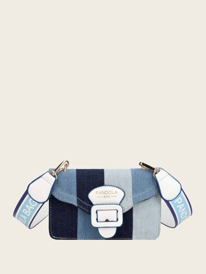 Color Block Buckle Decor Bag
