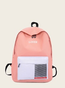Slogan Print Nylon Backpack