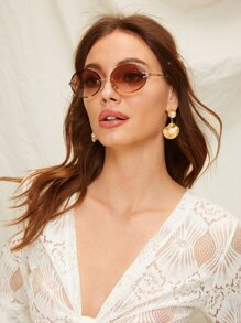 Oval Lens Rimless Sunglasses