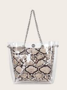 Clear Tote Bag With Snakeskin Inner Pouch