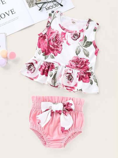 Toddler Girls Floral Print Tank Top With Bow Shorts