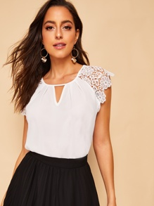 Contrast Lace Raglan Sleeve Blouse