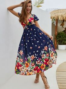 Deep V Neck Floral Print Split Side Dress