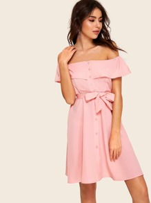 Off The Shoulder Flounce Trim Self Tie Dress