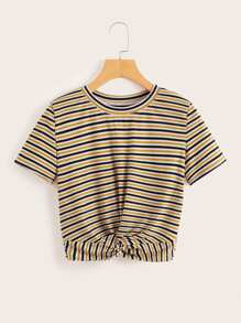 Striped Twist Front Ribbed Tee