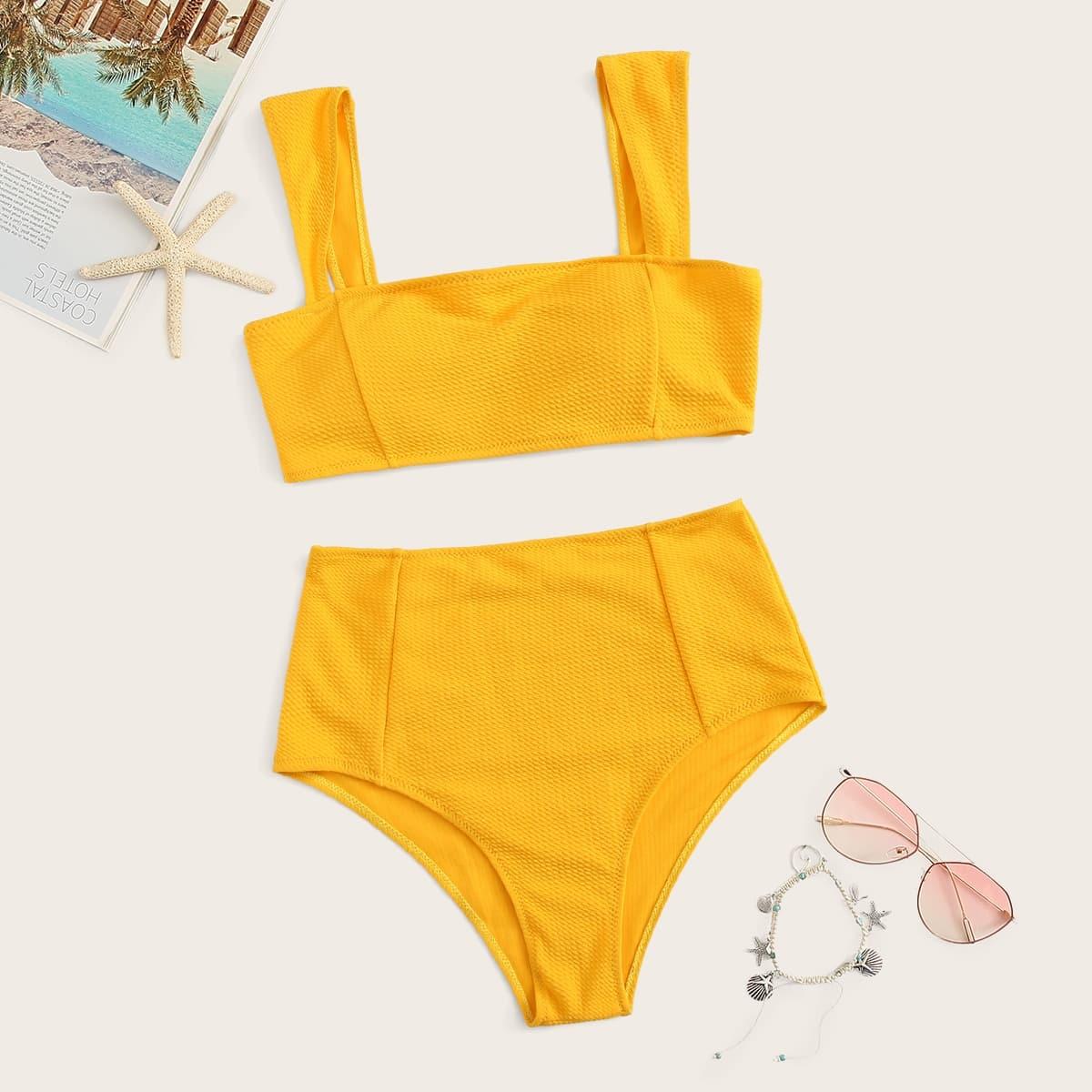 Top mit weiten Träger und Bikini Set mit hoher Taille