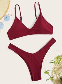 Thin Strap Top With High Cut Bikini Set