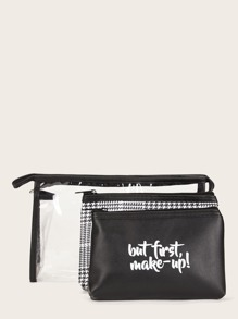 Letter & Plaid Makeup Bag Set 3pack