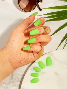Neon Lime Fake Nail & Tape & Nail File 26pack