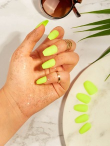 Neon Yellow Fake Nail & Tape & Nail File 26pack