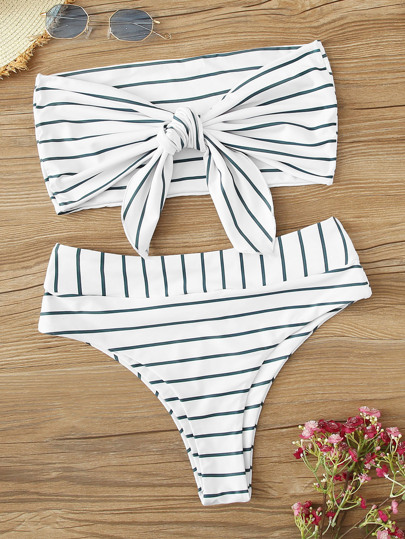 4c3f6fafb Striped Tie Front Bandeau With High Waist Bikini Set