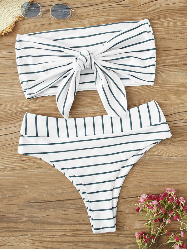 0f7f275cfe44d Striped Tie Front Bandeau With High Waist Bikini Set | SHEIN