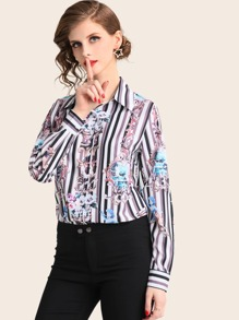 Striped & Scarf Print Trim Button Front Blouse