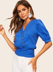 Button Trim Front Shirred Hem Blouse