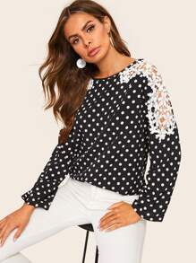 Polka Dot Contrast Lace Blouse