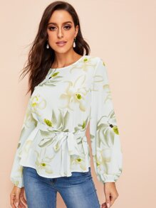 Floral Print Belted Bishop Sleeve Chiffon Blouse