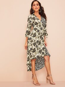 Chain & Leopard Print Knot-side Wrap Dress