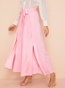 Split-front Wide Leg Waist Tie Pants