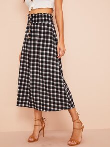 Plaid Button Half Placket Elastic Waist Skirt