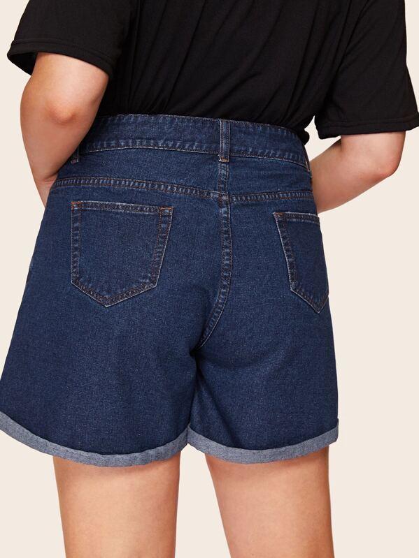 3faf88a550b Plus Rolled Trim Denim Shorts