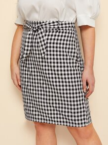 Plus Plaid Self Tie Skirt