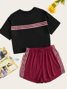 Plus Contrast Taped Tee With Shorts