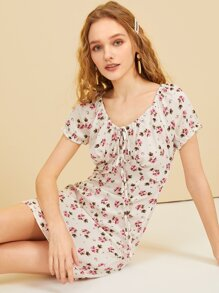 Ditsy Floral Print Knot Detail Dress