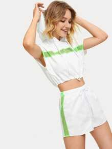 Contrast Mesh Drawstring Hem Top With Shorts