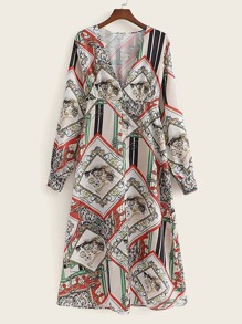 V-neck Scarf Print Dress