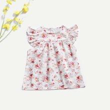 Toddler Girls Floral Print Butterfly Sleeve Dress