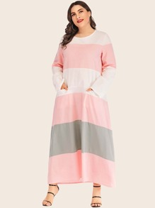 Plus Color Block Pocket Detail Dress