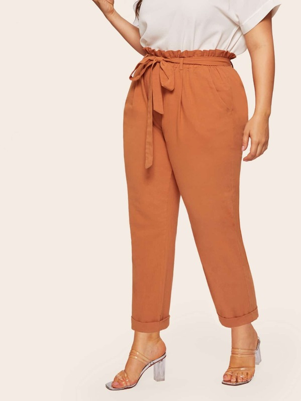 84e33df668 Plus Paperbag Waist Cropped Pants With Belt | SHEIN