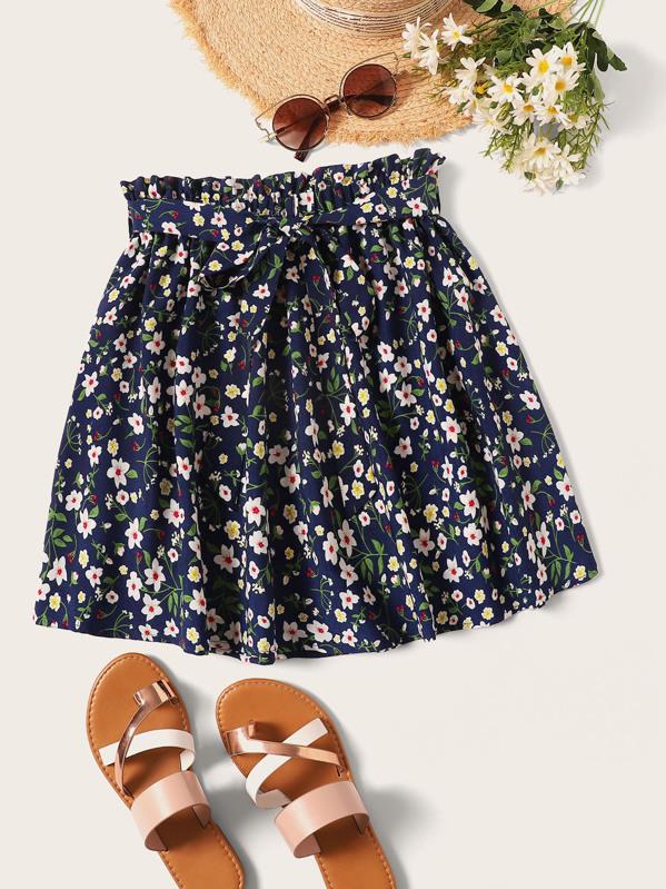 e06bd35a8380 Ditsy Floral Print Paperbag Waist Belted Skirt | SHEIN UK