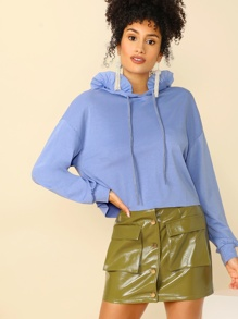 Drop Shoulder Ruffle Trim Drawstring Hoodie