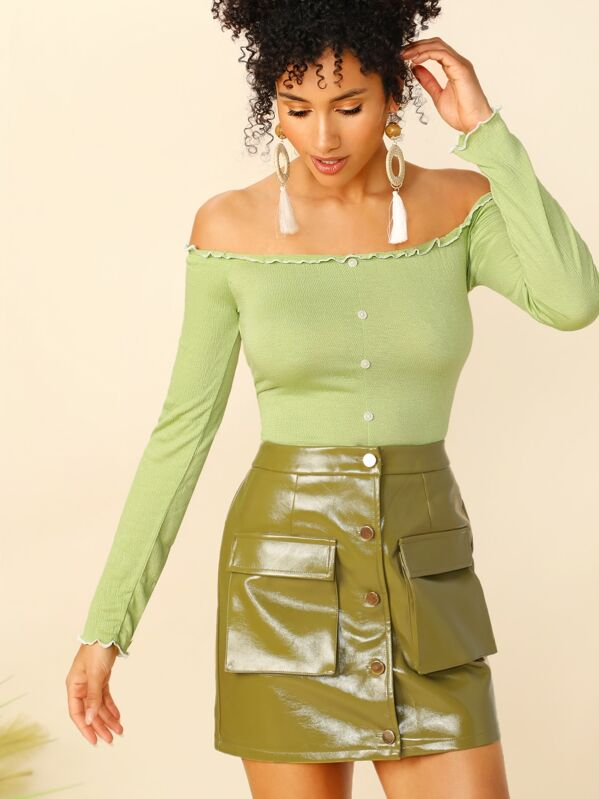 64bc22013dd Lettuce Trim Button Front Ribbed Bardot Top | SHEIN UK