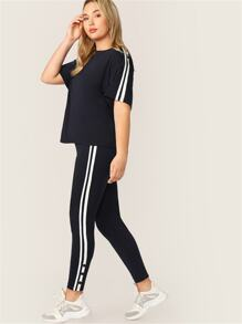 Plus Buttoned Striped Side Tee & Leggings Set