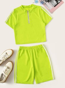 Neon Lime Side Stripe Zip Up Neck Top With Shorts