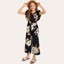 Girls Ruffle Armhole Floral Wide Leg Jumpsuit