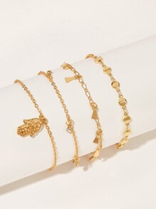 Hand Charm Chain Anklet 4pcs